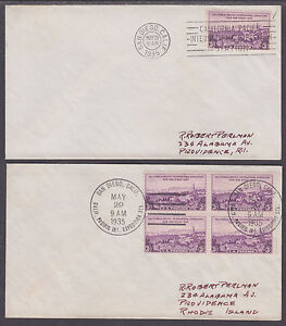 US-Sc-773-FDCs-1935-3c-California-Pacific-Int-039-l-Expo-2-diff-First-Day-Cancels