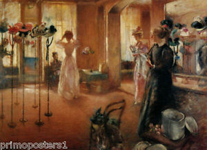 THE HAT SHOP STORE MILLINERY WOMEN FASHION 1892 PAINTING BY HENRY ... f6ae159f1fc