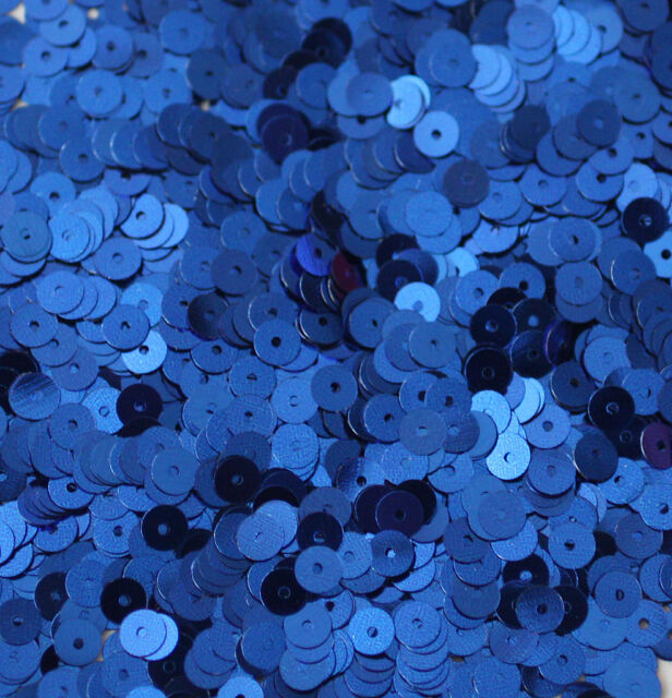 5mm Flat SEQUIN PAILLETTES ~ ROYAL BLUE Metallic ~ Round Disc ~ Made in USA.