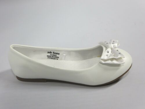 Titi Girls Flats w// Bow Youth Flower Girl White Off-White Pearl Dress Shoes