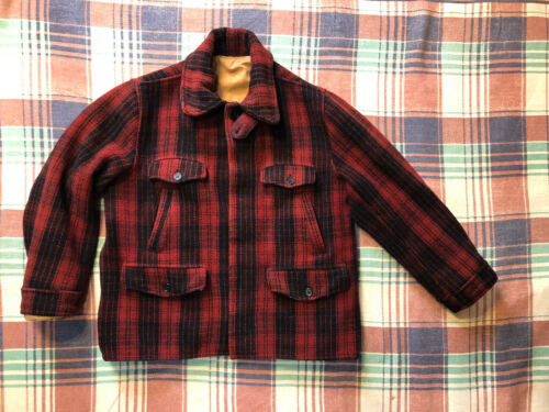 Vintage 30's 40's Wool Buffalo Plaid Hunting Jacke