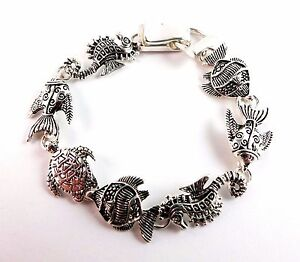 Bracelet-Sea-Life-Seahorse-Turtle-Fish-Ocean-Silver-Magnetic-Clasp-7-Inch