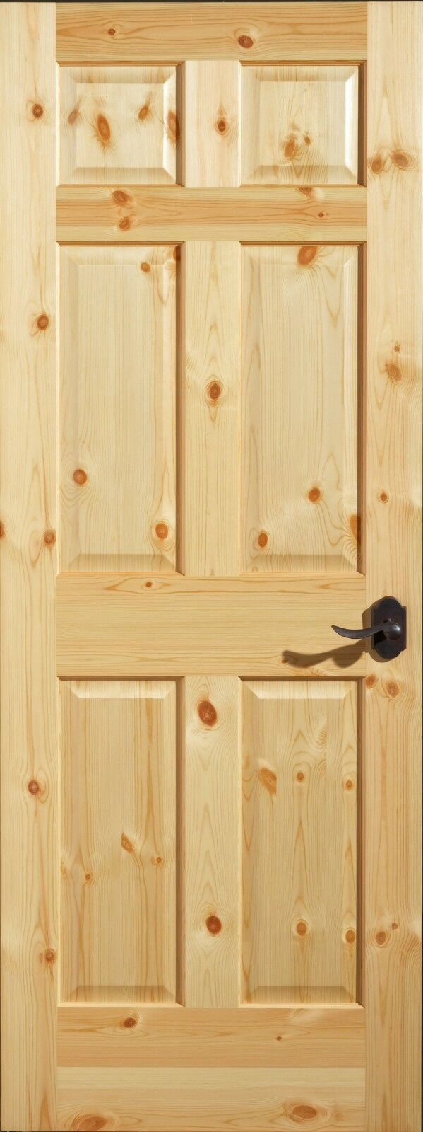 Knotty Pine 6 Panel Interior Door, Slab or Prehung. MANY SIZES.