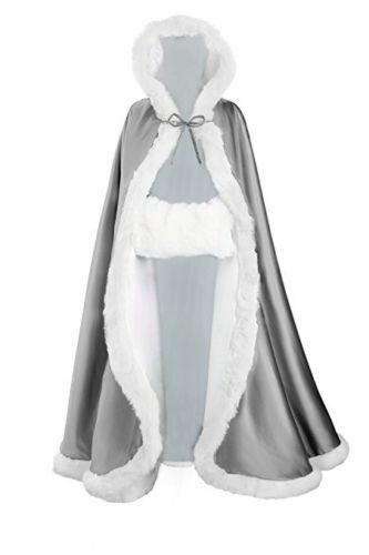 Long Bridal Winter Wedding//Party//Show Hooded Cloak Cape Faux Fur Shawl Wraps