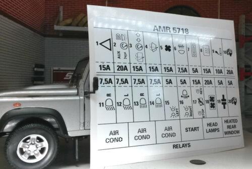 Land Rover Defender 90 110 Decal Label Badge AMR5718 Fuse Box Information