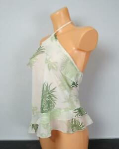 New Look green strappy floral summer top size UK14 EURO 42
