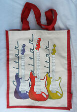 Large Canvas Shopping Bag / Tote Bag - Ted Smith Rock Guitar Design