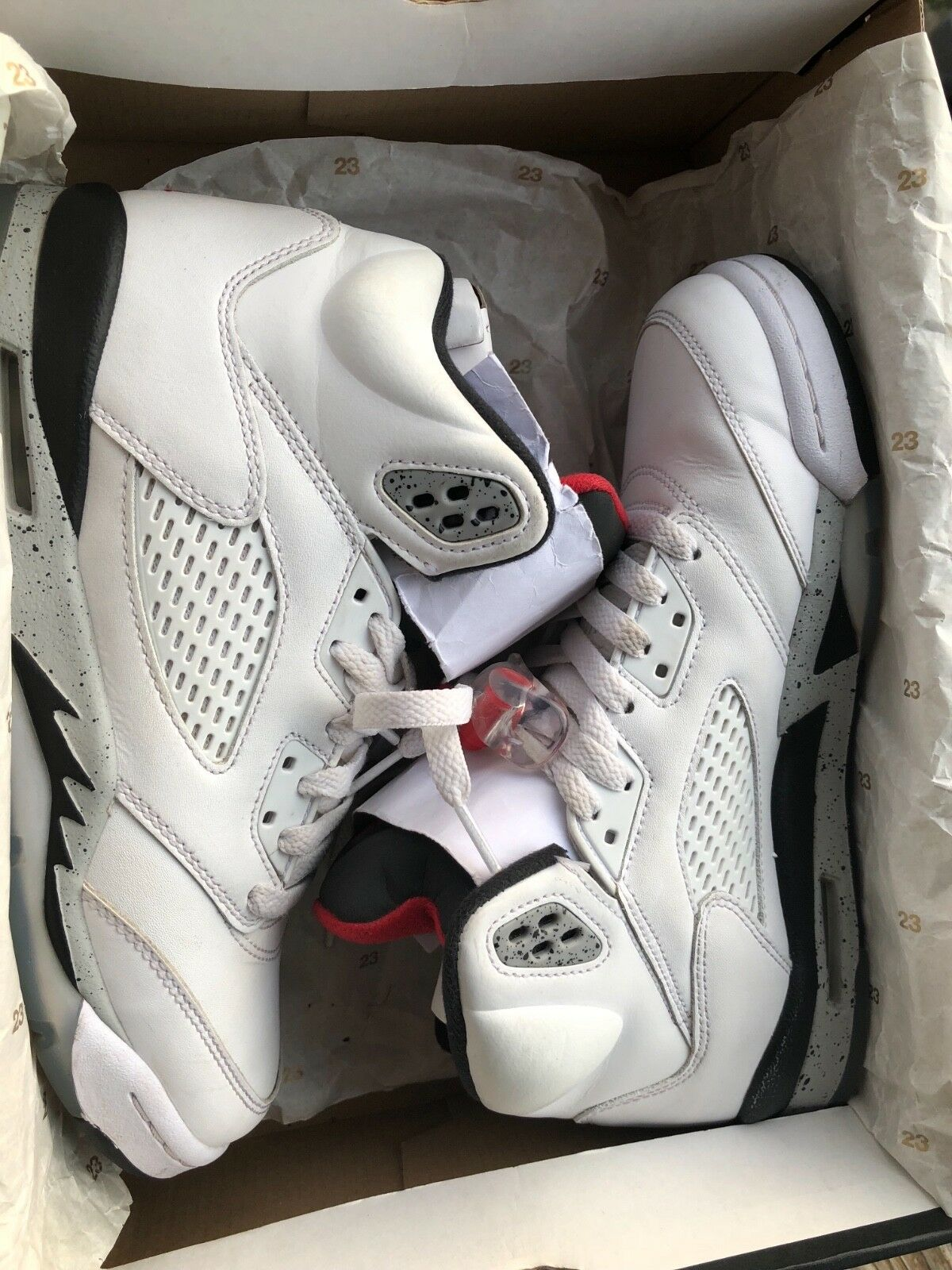 Air Jordan 5 Retro White Cement Size 7  Shoes In OG Box