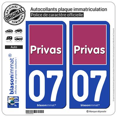 2 Stickers Autocollant Plaque Immatriculation Auto : 07 Privas - Ville Een Brede Selectie Kleuren En Motieven