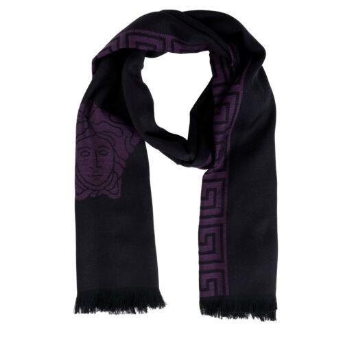 Versace Deep Purple 100/% Wool Logo Print Shawl Scarf