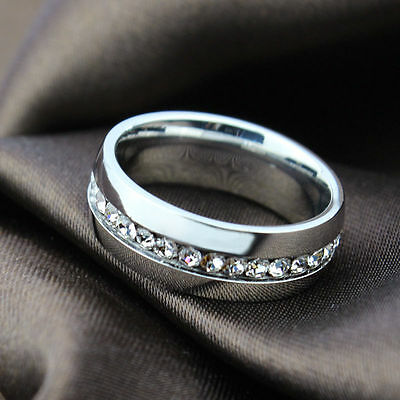 Womens Mens Stainless Steel Ring Wedding Band CZ Engagement Jewelry