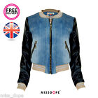 NEW DENIM WASH JEAN JACKET BLACK LEATHER WOMENS LADIES COAT CROPPED 10 12 14 16