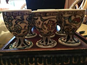 Antique Vintage Fl Design Egg Cups