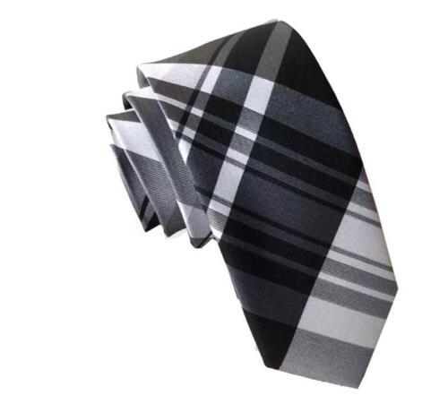 Silver and Grey British Patterned Handmade 100/% Silk Skinny Wedding Tie Black