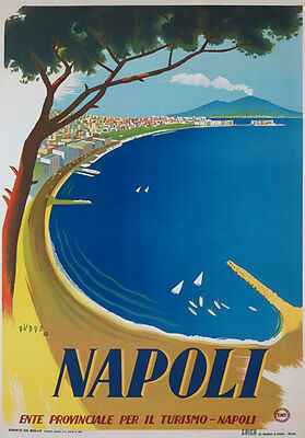 TV86 Vintage 1942 A4 NAPOLI Naples Italy Italian Travel Tourism Poster Re-print
