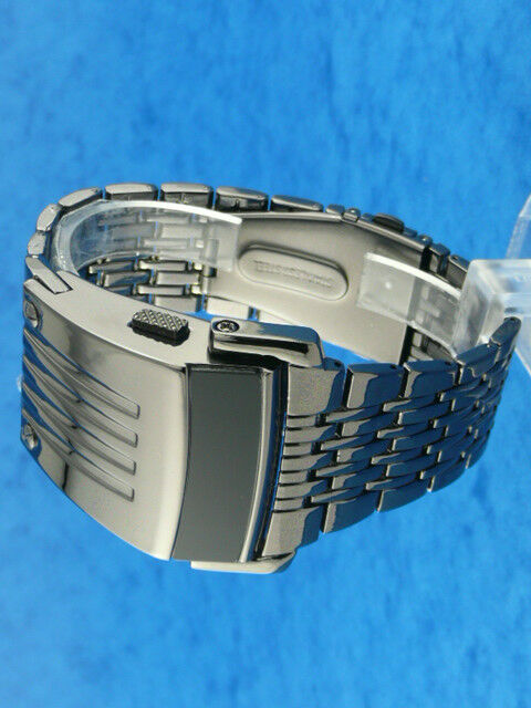 GUN METAL Space Age Futuristic Modern Seventies Style Mens RED LED L.E.D Watch