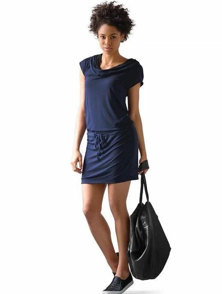 NWOT ATHLETA Blau & schwarz REVERSIBLE Cowl neck TRANSLATION Dress Medium