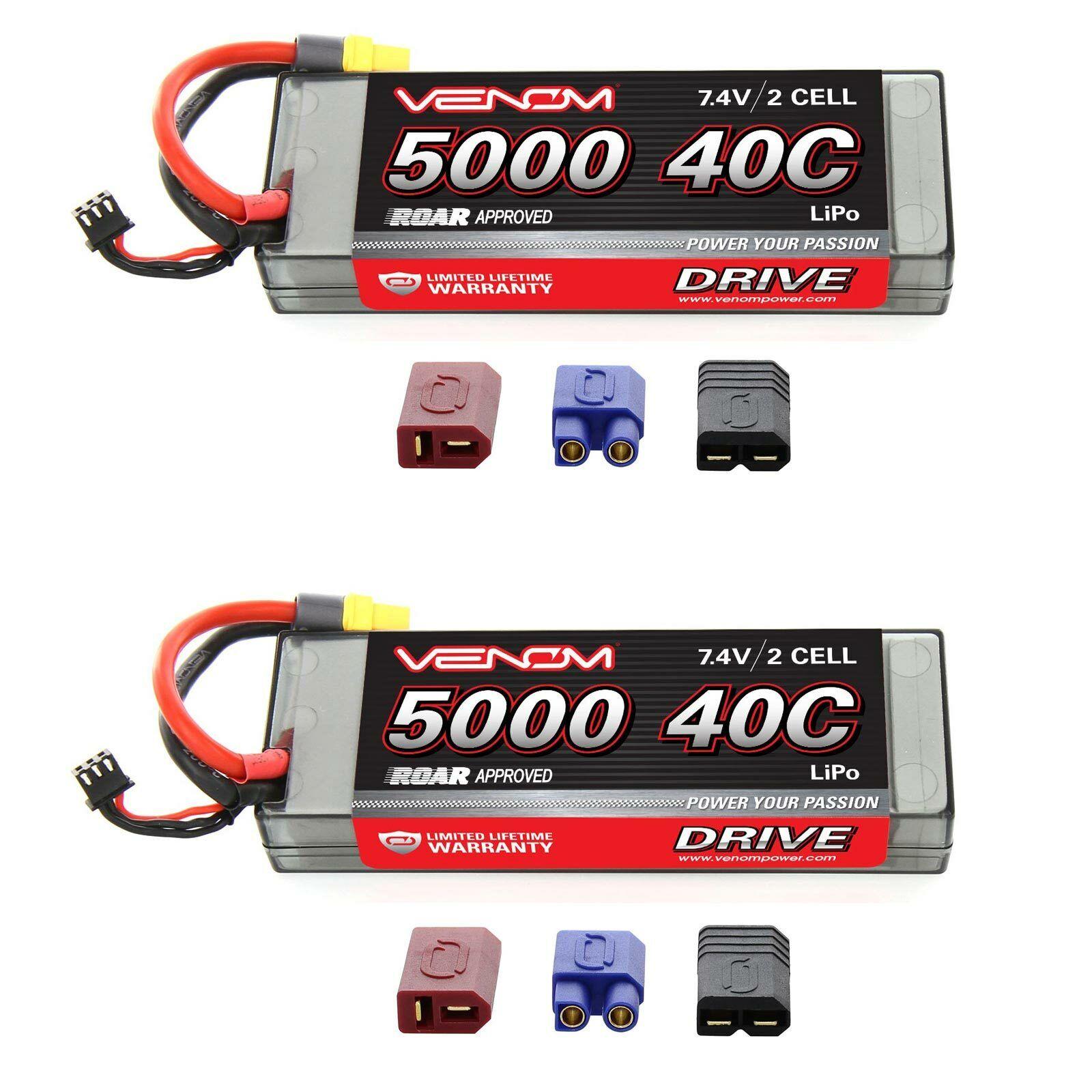 Venom Sport potencia 40C 2S 5000mAh 7.4V Batería Lipo rugido con paquetes de Enchufe x2 Uni