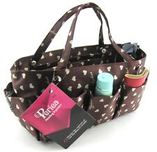 Periea handbag organiser brown+cream hearts,tidy, organizer, purse insert -Tilly