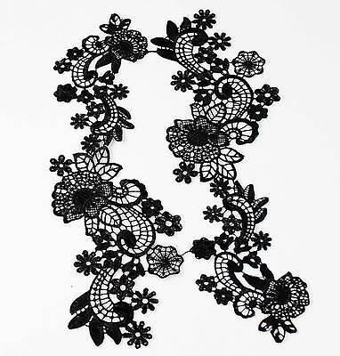 2 Pairs Black Fabric Venise Venice Lace Mirror Flower Motif Sewing Applique