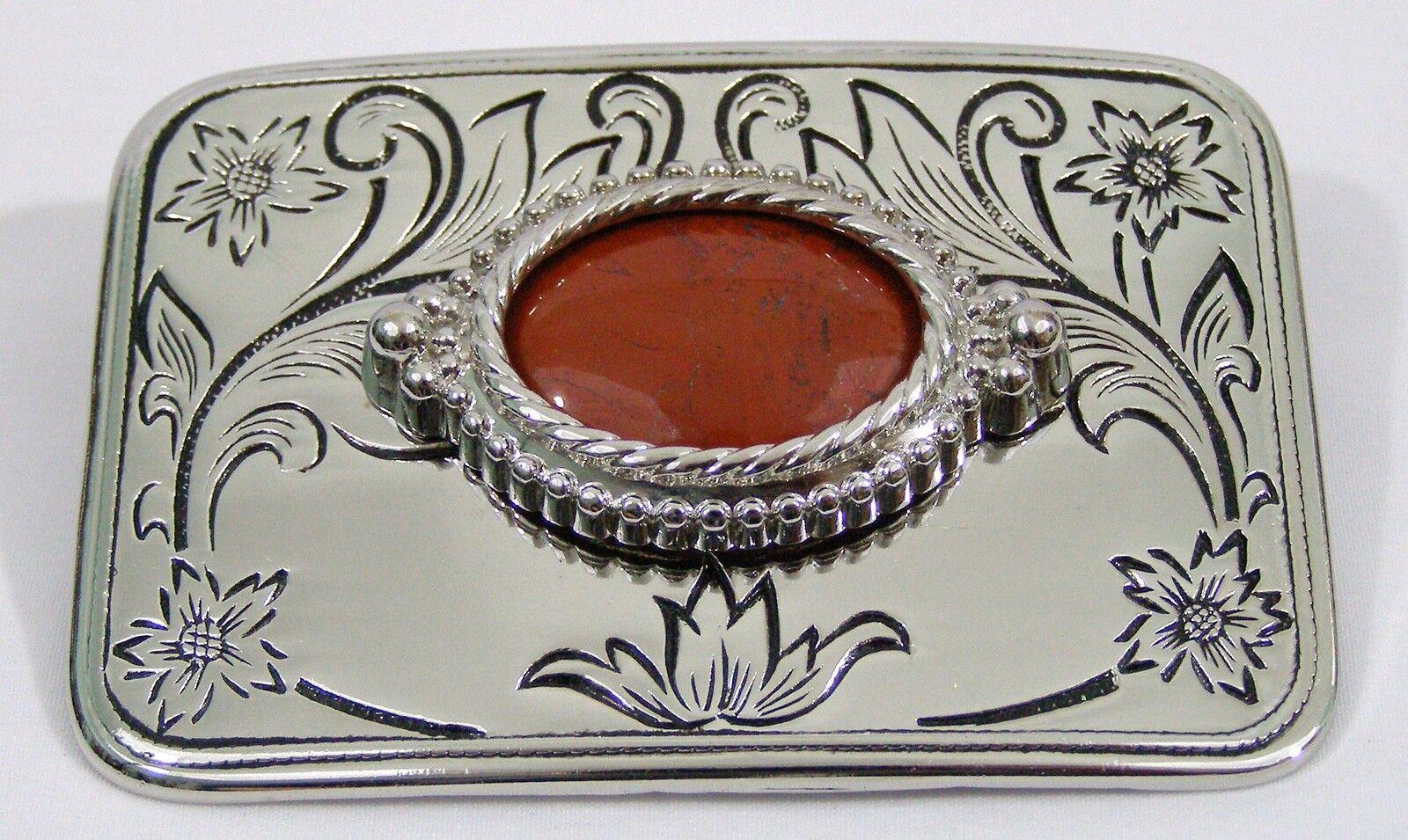 BELT BUCKLES Red Jasper Cabochon Gemstone Silver Rectangle Screw Back Mount NWOT