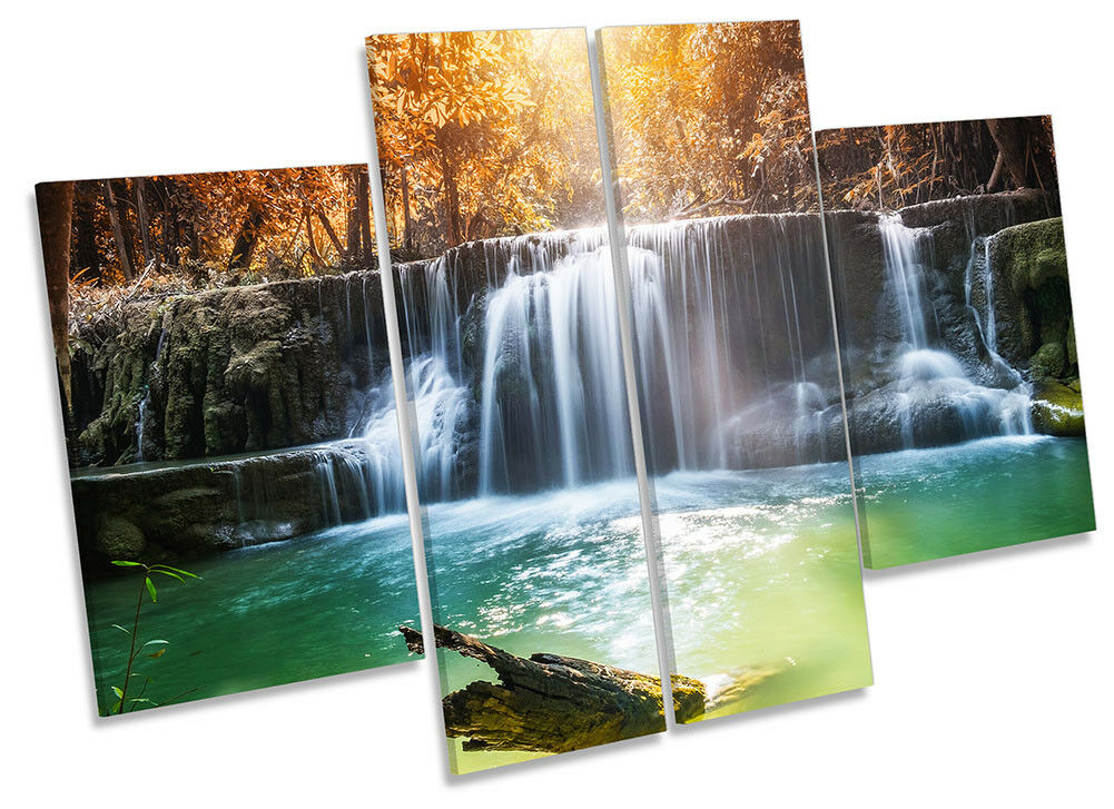 Waterfall Sunset Orange Picture CANVAS WALL ART Four Panel
