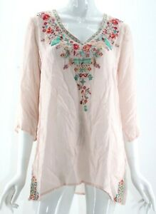 Johnny-Was-Pink-Floral-Embroidered-1-2-Sleeve-V-Neck-Blouse-Medium