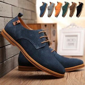 Mens-Casual-Dress-Shoes-Size-10-Suede-Oxfords-Leather-Shoes-Business-Formal