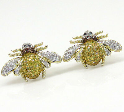 0.75ct 14K Yellow Gold Red Canary Diamond Bumble Bee Ladies Studs Earrings