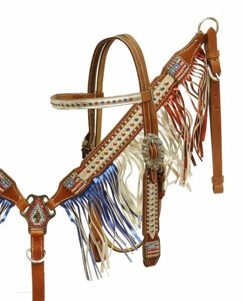 American Flag USA Crystal Leather Metallic Bridle Headstall Fringe  Breast Collar  exclusive