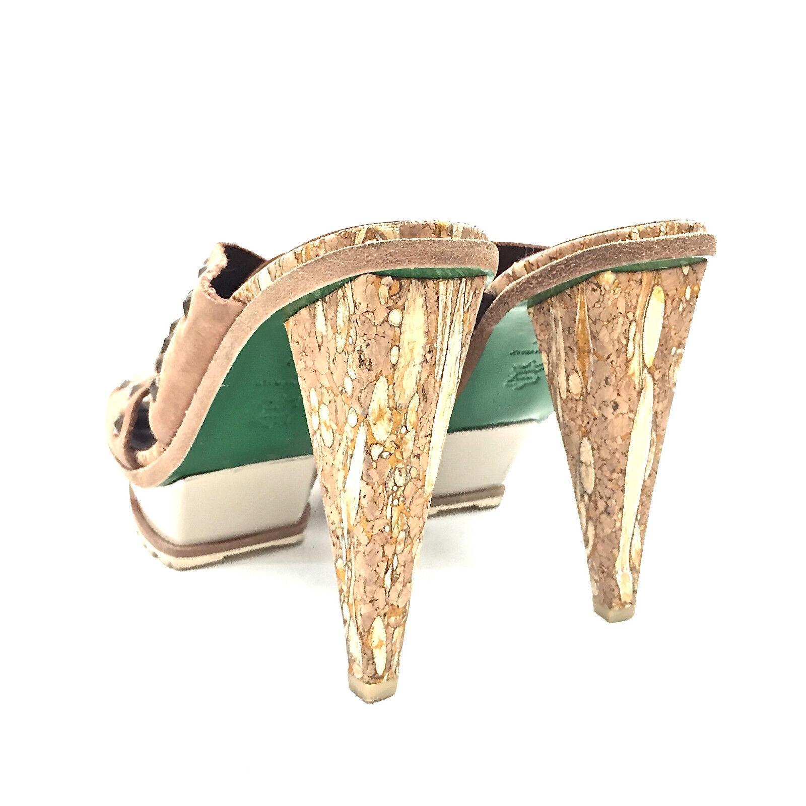 Women's Donald J. Pliner Cognac Brass Brass Brass Studded Leather & Cork Platforms Size 6.5 4fc42b