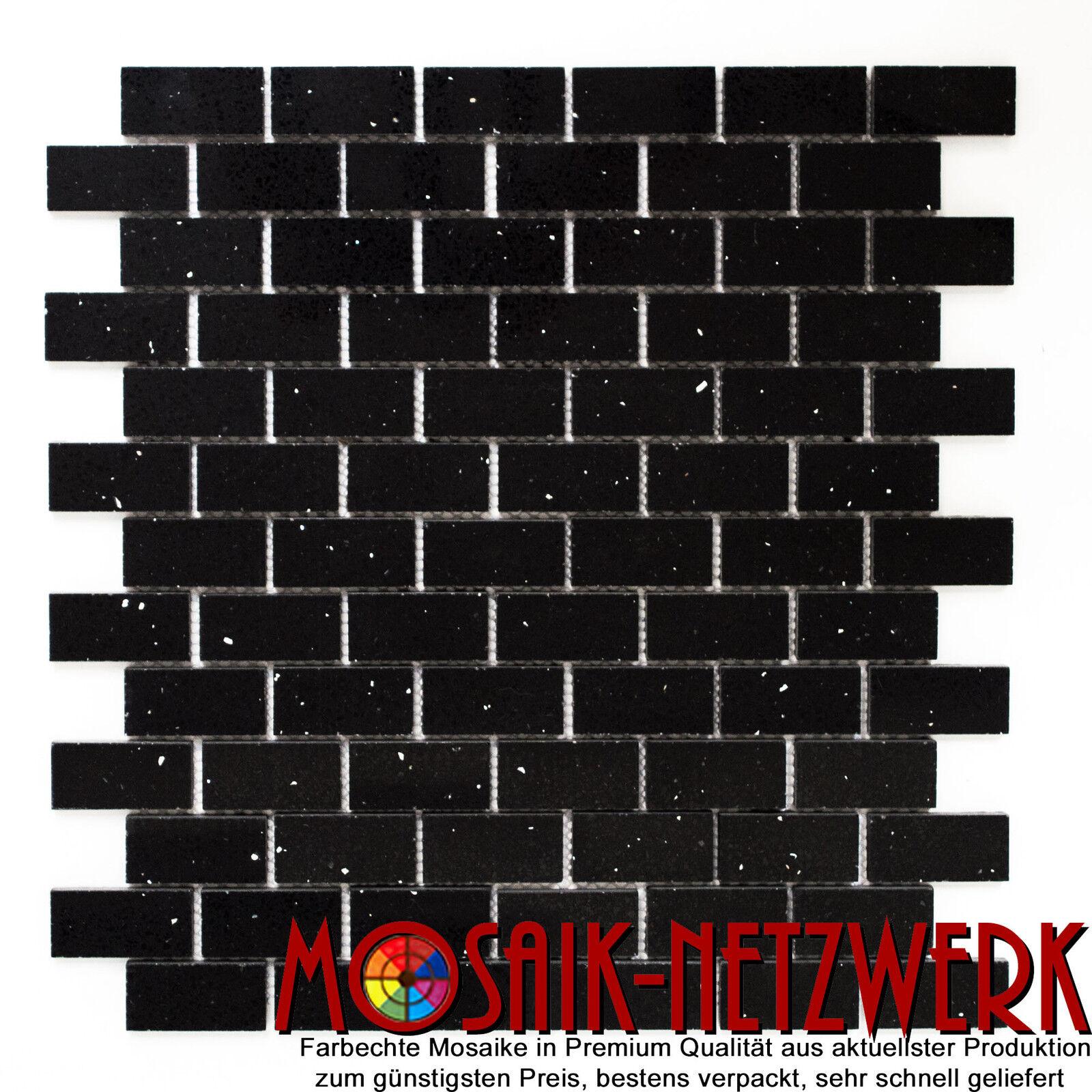 Mosaik Verbund artifical schwarz Fliesenspiegel Küche Art  46-0304   10 Bögen