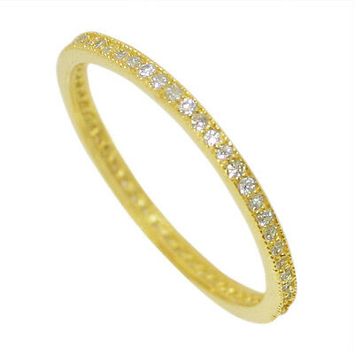 925 Sterling Silver Eternity Ring Engagement Wedding Band Cz Yellow Gold Plated