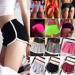 Womens-Girl-Elastic-High-Waist-Sports-Hot-Pants-Athletic-Gym-Yoga-Shorts-Bottoms