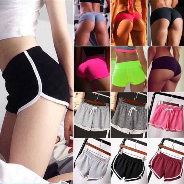 Womens Girl Elastic High Waist Sports Hot Pants Athletic Gym Yoga Shorts Bottoms