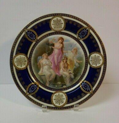 "Maidens in Garden #2 Czecho-Slovakia Porcelain Portrait 10 5//8/"" Cabinet Plate"