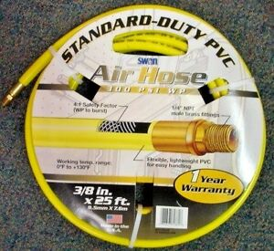 "Swan AH7138025a 3/8"" x 25' Standard Duty Air Hose USA"