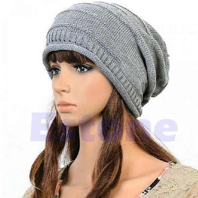 Hot Winter Unisex Oversized Slouch Cap Plicate Baggy Beanie Knit Crochet Ski Hat
