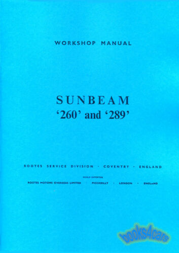 SUNBEAM TIGER SHOP MANUAL SERVICE REPAIR BOOK WORKSHOP ROOTES
