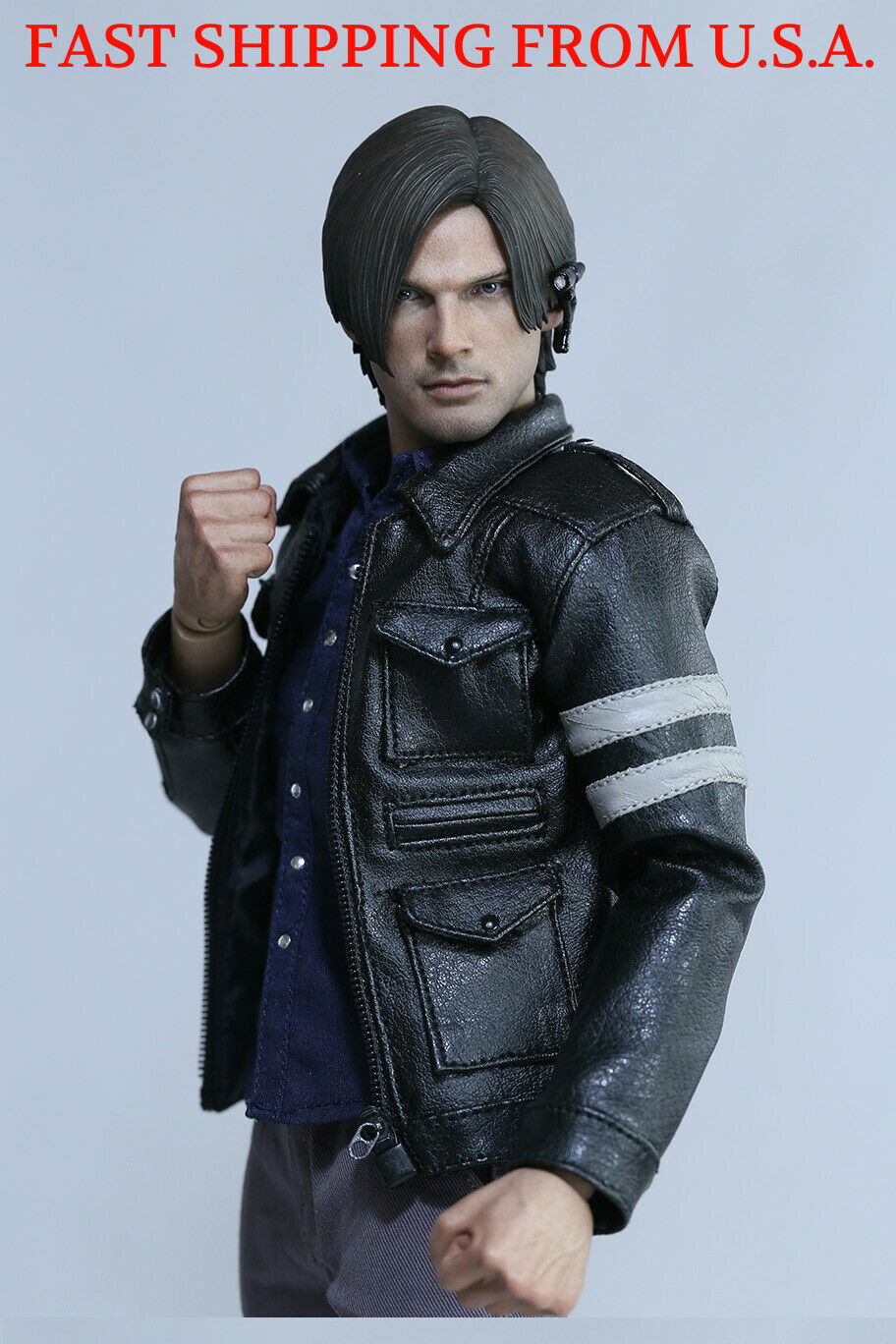 1 6 Scale Leon Kennedy Resident Evil Leather Jacket Clothing Set ❶USA IN STOCK❶