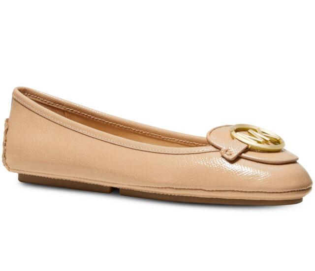 NIB Size 7.5 Michael Kors Lillie Leather Moccasin Light Blush Gold
