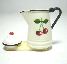 Dollhouse Miniature Coffee Pot with Lid - Hand Painted Cherry Design