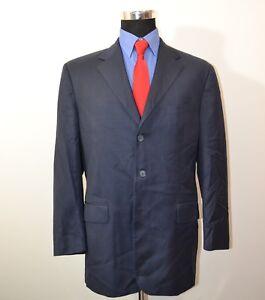 Faconnable-44R-Sport-Coat-Blazer-Suit-Jacket-Blue-Wool-Italy