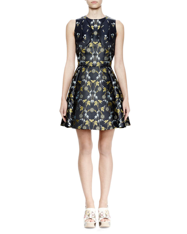 Alexander McQueen Sleeveless Silk Floral-Print Dress, Navy 38 (size 2)