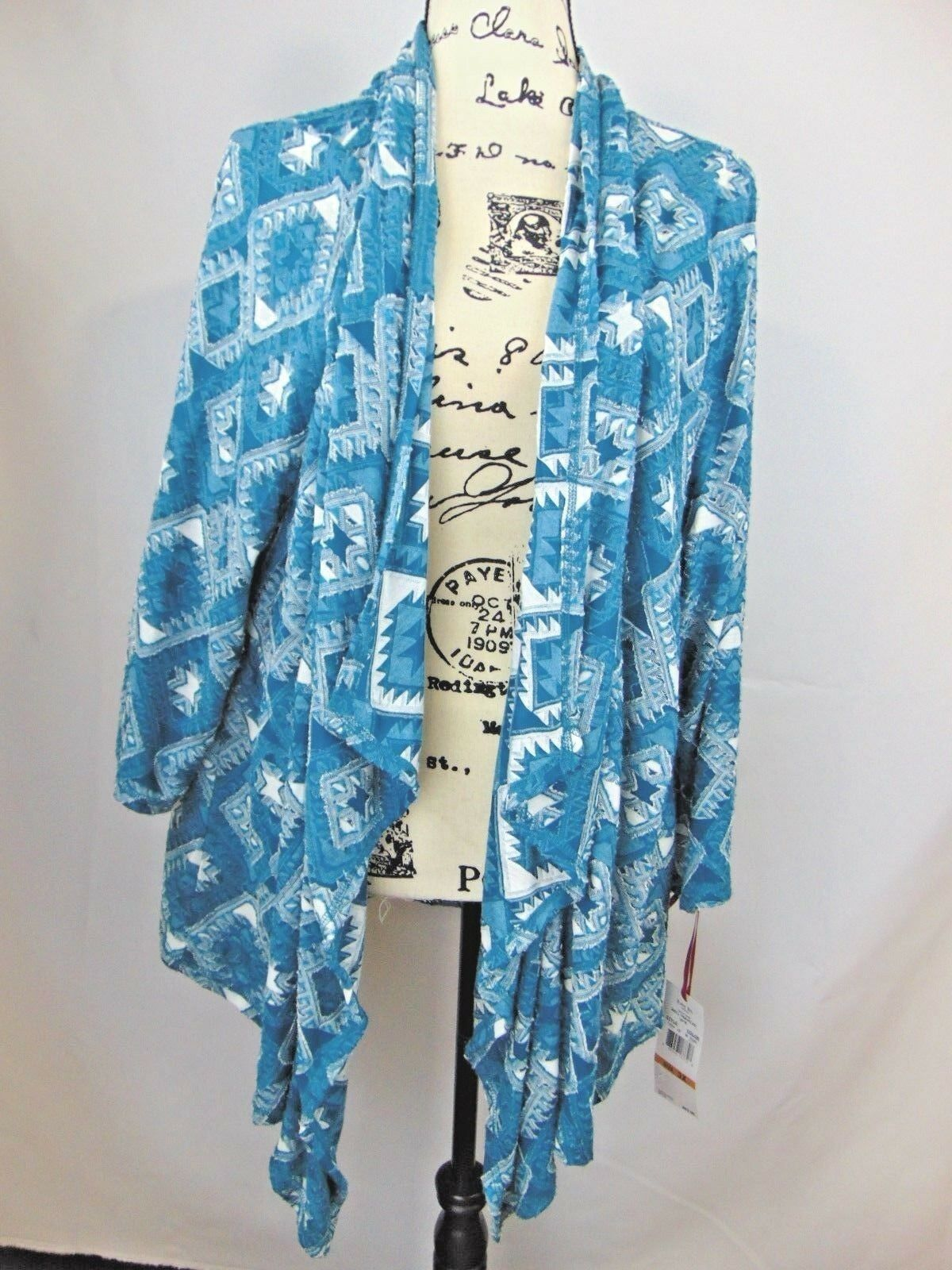 Ruby Rd  Woman 3X Open Cardigan Diamond Pattern Teal bluee Cream  3 4 Sleeve NWT
