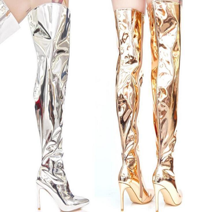 Sz35-48 Damens Pointed Toe Glitter Over Knee Stiefel Stilettos High Heels Schuhes I57