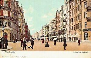 STOCKHOLM-SWEDEN-BIRGER-JARLSGATAN-1900s-AXEL-ELIASSONS-3350-POSTCARD