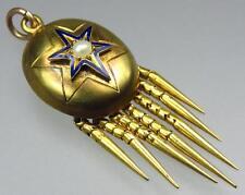 Antique Victorian 18K Gold Blue Enamel Star Pearl Tassel Mourning Locket Pendant