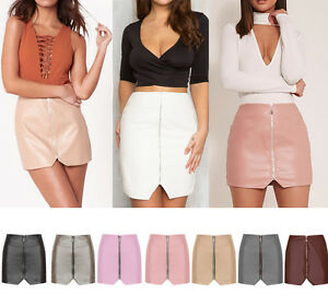 WOMEN New High Waist Bodycon Faux Leather Wet Look Pencil Mini Skirt 8-16 UK