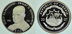 Eisenhower Harmonious Colors Coins & Paper Money Liberia 2007 Large Silver Proof $20-dwight D Africa